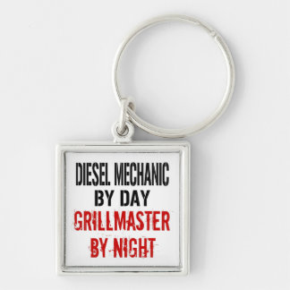 Diesel Mechanic Grillmaster Silver-Colored Square Keychain