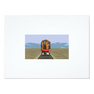 Diesel Train Front Rear Woodcut Retro 6.5x8.75 Paper Invitation Card