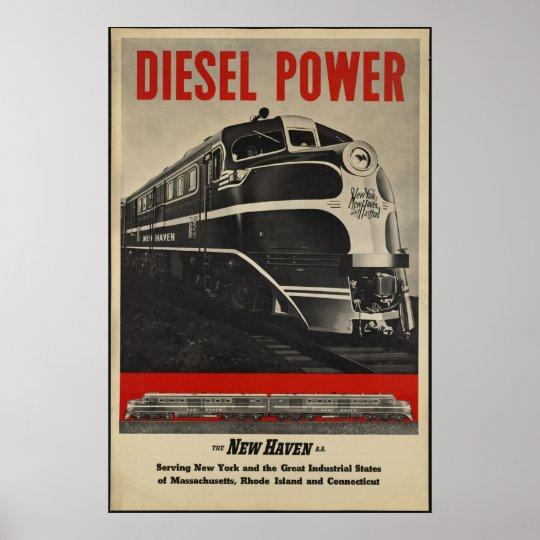 Diesel Train Vintage Travel Poster Ad Retro Prints
