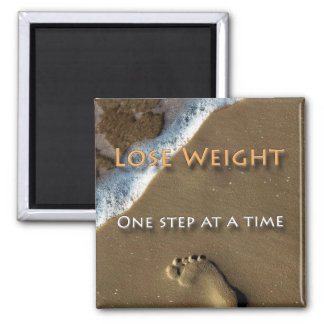 Diet and Weight Loss One Step At A Time 2 Inch Square Magnet