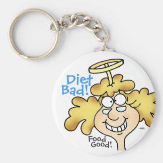 Diet Bad! Food Good! Fun Cartoon Keychain