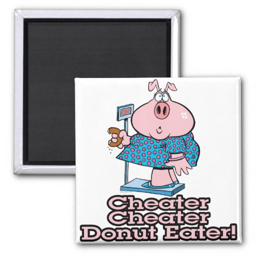 diet cheater donut eating piggy cartoon 2 inch square magnet