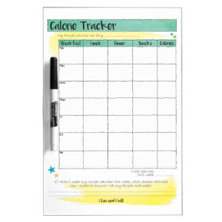 Diet Healthy Eating Meal Calorie Tracker Chart Dry Erase Board