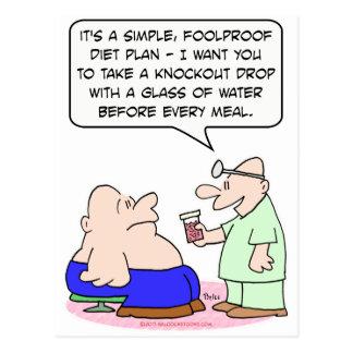 diet knockout drop doctor patient fat postcard