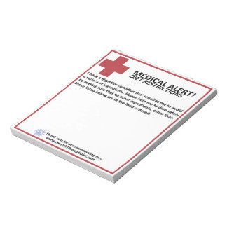 Diet Restriction Note pad