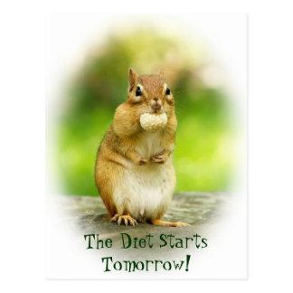 Diet Starts Tomorrow Chipmunk Postcard