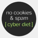 Dieta cibernética - ningunas galletas y Spam Pegatina Redonda