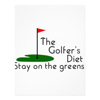 Dieta de los golfistas membrete personalizado