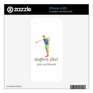 Dieta de los golfistas - viva en verdes skins para eliPhone 4S