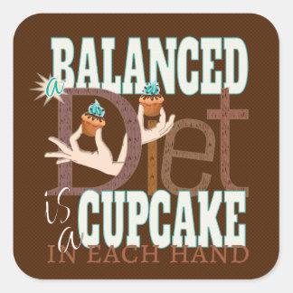 Dieta equilibrada de las magdalenas - humor sano pegatina cuadrada