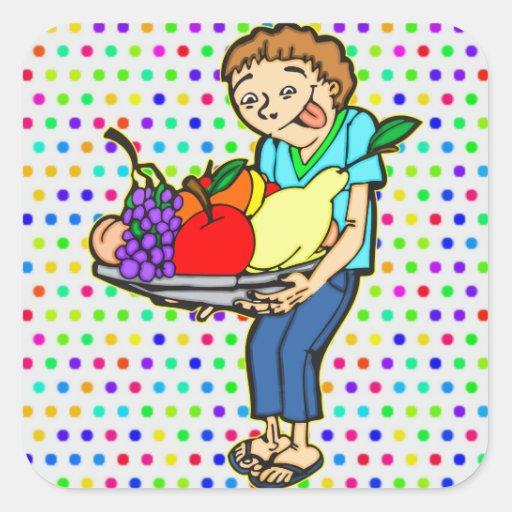 Dieta equilibrada sana pegatina cuadradas personalizada