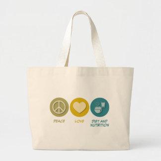 Dieta y nutrición del amor de la paz bolsa lienzo