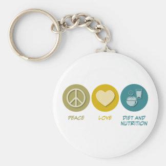 Dieta y nutrición del amor de la paz llavero redondo tipo pin