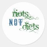 Dietas de los alborotos no etiquetas redondas
