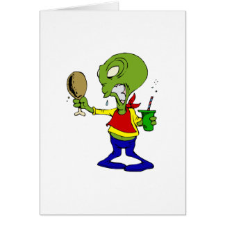 Dieting Alien with Turkey leg Card