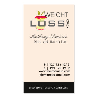 Dieting and Loosing Weight  Coach Business Card Templates