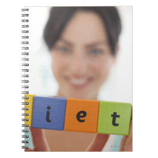 Dieting, conceptual image. spiral notebook