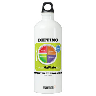 Dieting Is A Matter Of Proportion (MyPlate) Water Bottle