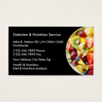 Dietitian And Nutrition Services Business Card