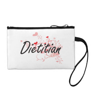Dietitian Artistic Job Design with Hearts Change Purse