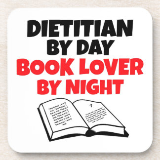 Dietitian by Day Book Lover by Night Drink Coasters