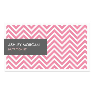 Dietitian Nutritionist - Light Pink Chevron Zigzag Business Card