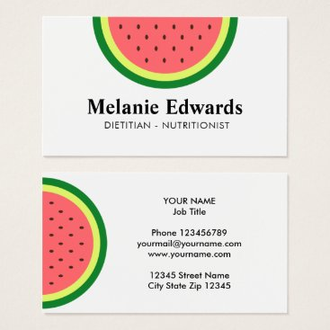 Beach Themed Dietitian nutritionist watermelon business cards