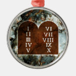 Diez mandamientos adorno navideño redondo de metal