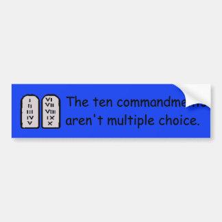 Diez mandamientos etiqueta de parachoque