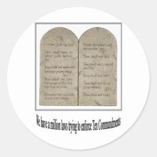 Diez mandamientos con cita etiqueta redonda