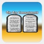 Diez mandamientos de la Sagrada Biblia, la ley de Pegatinas Cuadradases
