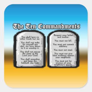 Diez mandamientos de la Sagrada Biblia, la ley de Pegatina Cuadrada