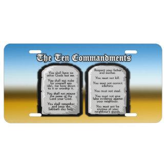 Diez mandamientos de la Sagrada Biblia, la ley de  Placa De Matrícula