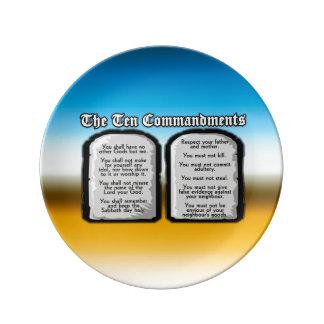 Diez mandamientos de la Sagrada Biblia, la ley de  Plato De Cerámica