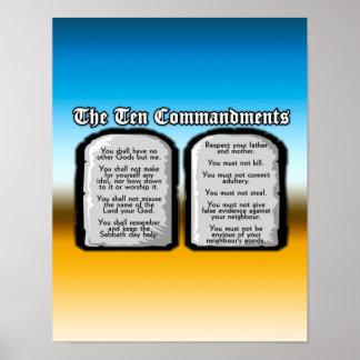 Diez mandamientos de la Sagrada Biblia, la ley de Póster