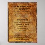Diez mandamientos en el fondo de piedra impresiones