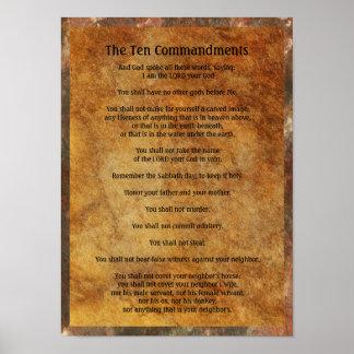 Diez mandamientos en el fondo de piedra póster
