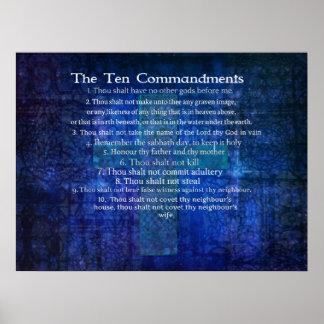 Diez mandamientos enumerados en orden póster
