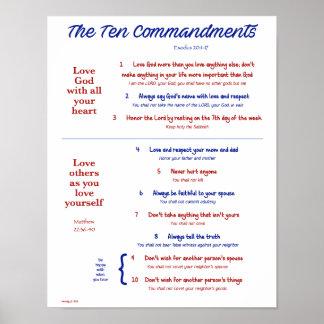 Diez mandamientos para los niños--Marina de Póster