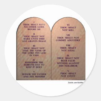 Diez mandamientos pegatinas redondas