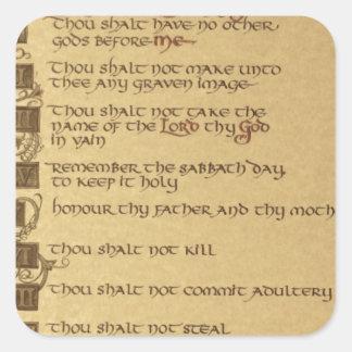 diez mandamientos pegatina cuadrada