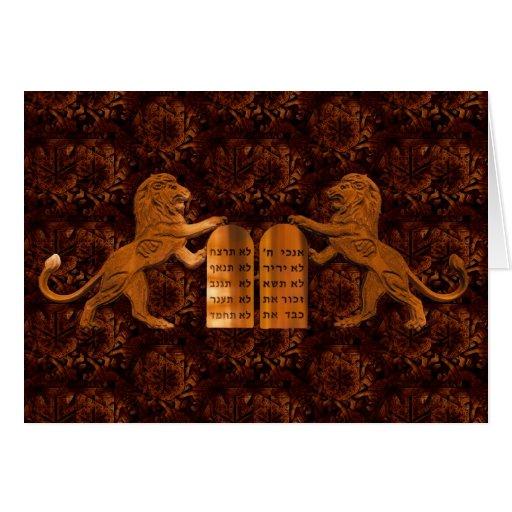 Diez mandamientos y leones felicitacion