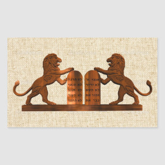 Diez mandamientos y leones pegatina rectangular