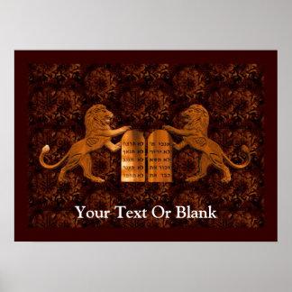 Diez mandamientos y leones póster