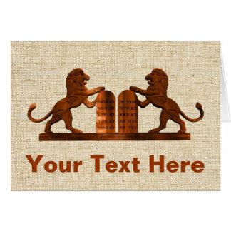 Diez mandamientos y leones tarjeta de felicitación