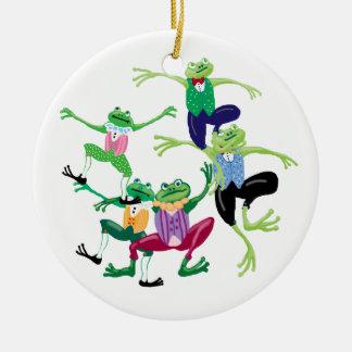 Diez señores aleaping adorno navideño redondo de cerámica