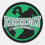 Diferencia del Día de la Tierra Etiqueta Redonda