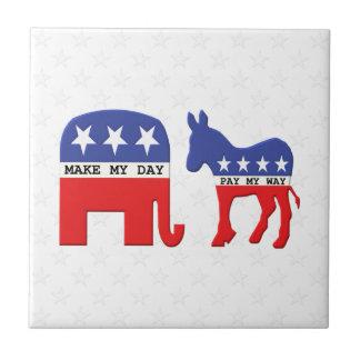Diferencia entre los republicanos y Demócratas Azulejo Cuadrado Pequeño