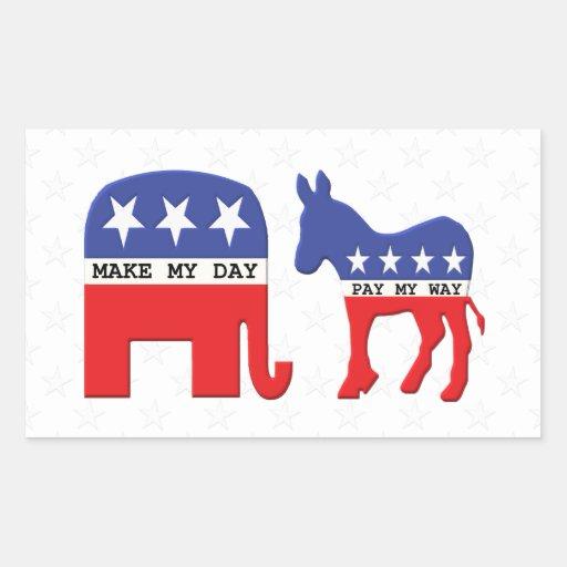 Diferencia entre los republicanos y Demócratas Pegatina Rectangular