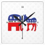 Diferencia entre los republicanos y Demócratas Reloj Cuadrado